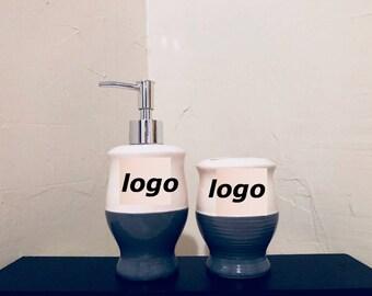 Fashion ceramic soap dispenser and toothbrush holder set!