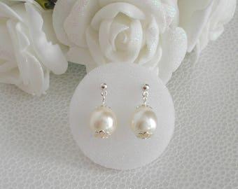 Ref earrings Cora renaissance studs 10 mm Ivory Pearl silver ball