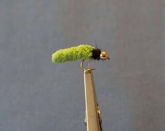 3 Green Mop Flies, #12, Fly Fishing Flies, Trout Flies, Wet Flies, Nymph Flies, Hand Tied Flies