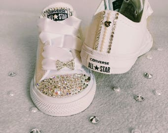 White All Star blinged Swarovski crystal and pearl Converse