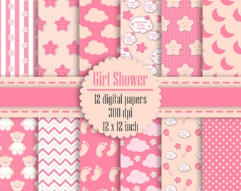 12 Baby Girl Shower Digital Papers in 12 inch 300 Dpi Instant Download, Scrapbook Papers, Kid Digital Papers, Commercial Use