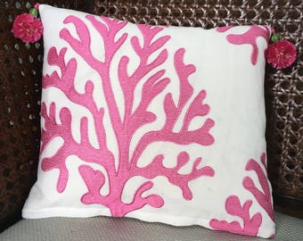 White & Pink Coral Pillow