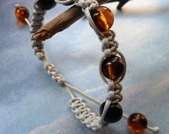 Gray and amber shambala bracelet
