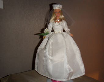 Doll clothes dress bridal fabric couture handmade