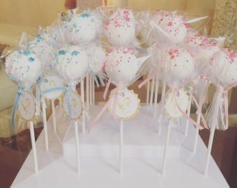 Pink and Blue Gender Reveal Cake Pops