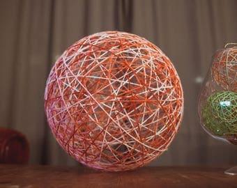Lampshade ball shades of red wool