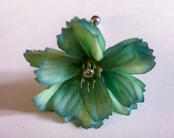 Teal green blue silk flower floral silver 14g industrial body jewelry earring