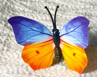 Blue orange black butterfly silver 14g industrial body jewelry earring
