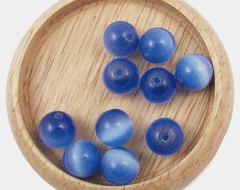 10 Navy Blue cat eye beads - 4mm