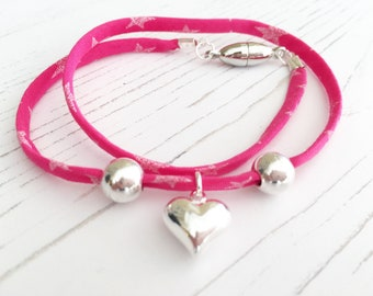 Liberty Pink Ribbon Bracelet with Sterling Silver Heart Charm