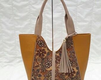 Floral leather handbag-Women Handbag Leather