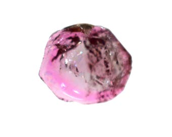 Tourmaline 7x8.5 mm 100% Natural Bi-color Tourmaline Slice 1.60 cts. Beautiful Loose Gemstone - 3807