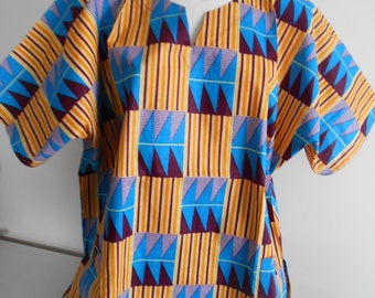 Multicolor wax kente pattern POLYESTER tunic