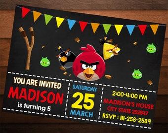Angry Birds Birthday Invitation, Angry Birds Invites, Birthday Invitations for Boys, Birthday Invitations for Girls, Printable Angry Birds
