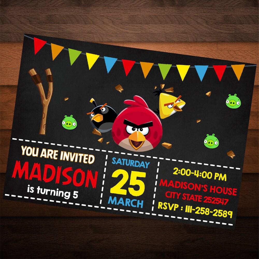 Angry Birds Birthday Invitation, Angry Birds Invites, Birthday ...