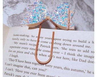 Glitter Bow planner clip - planner clip, planner bookmark, paperclip bookmark, reading bookmark, bow bookmark, bow paperclip, journal clip