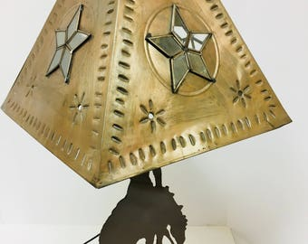 Handmade Metal Art Table Lamp Featuring a Silhouetted Indian with a Spear on His Horse