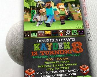 Mine Themed Invitation,Mine Themed Birthday,Mine Themed Birthday Invitation,Mine Themed Party,Mine Themed Birthday Party,Minecraft-NR121