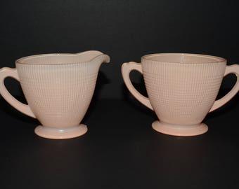 DOMINION GLASS, Vintage, Depression Glass, Saguenay, Fired On, Pink, Cream & Sugar Set, Creamer, light pink color, pastel Creamer, 1940s