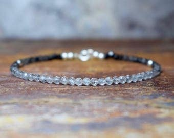 Black Spinel & Rutilated Quartz Sterling Silver Bracelet, Faceted Spinel and Quartz Bracelet