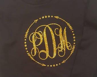 Glittered Arrow Monogram Shirt/Vinyl Transfer Shirt/Glittered Personalized shirt/Girlie Shirt/Kids Glitter Girl Shirt/Girl Birthday Shirt