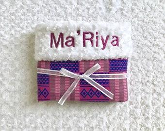 African Print Baby Blanket--Personalized; kente cloth blanket; African baby blanket; African blanket