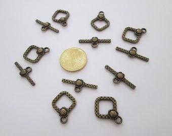 6 fermoir toggle losange ciselé en métal couleur bronze antique