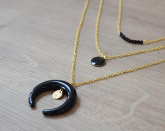 Necklace gold multi strand half moon black or white