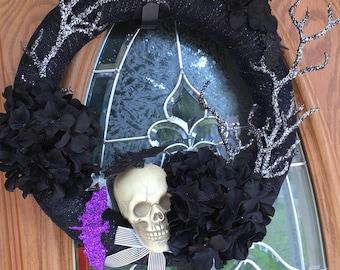 Halloween Wreath, Elegant Wreath, Skull Wreath,Frontdoor Wreath