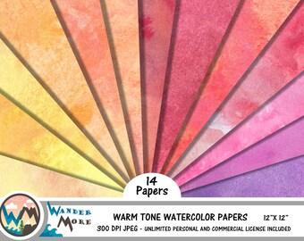 Digital Paper, Watercolor digital paper, Watercolor scrapbook paper, Digital background, Warm tones digital paper, Watercolor textures