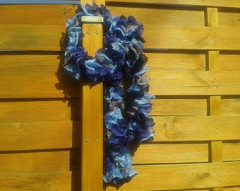 Ruffle scarf in shades of blue and grey
