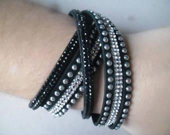 x 1 black multi strand leather bracelet in black/white Crystal rhinestone + studs silver 40 cm