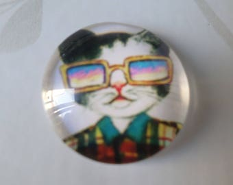 x 1 cameo/round glass cabochon funny kitten pattern 20 mm