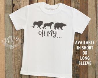 Lions Tigers Bears Oh My... Kids Shirt, Zoo Kids Shirt, Cute Kids Shirt, Zoo Tee, Boho Kids Shirt, Monkey Kids Shirt - T207L