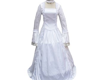 White Renaissance Victorian Vintage Bridal Dress Wedding Gown Reenactment  Enchantress Theater Outfit Vampire Witch Halloween Costume