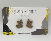 BAMBOO FOX STUDS / Bamboo Heart Studs / Heart Earrings