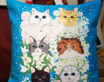 Cat with flowers cushion cover