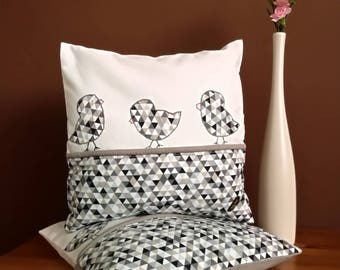 Set of two. Pillowcases. Cushions covers. Birds pillows. 40/40cm. 16/16inch.