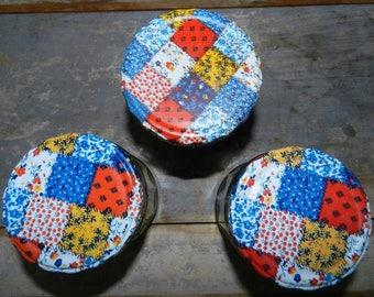Set of Three Jars/CALICO LID STORAGE Jars