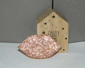"Badge ""mouth"" bronze glitter"