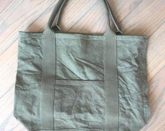 XL Army Green Canvas Tote Bag