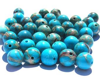 6 jaspes sédiments de 8 mm perles pierre bleu ciel strié de beige et marron.