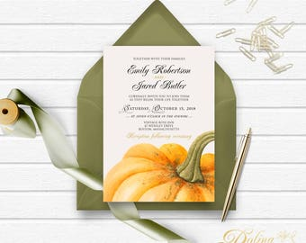 Wedding Invitation Pumpkin Invitation Fall Wedding Invitation Printable Rustic Wedding Invite Pumpkin Wedding Garden Invitation Editable PDF