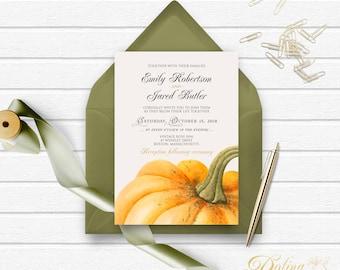 Wedding Invitation Pumpkin Invitation Fall Wedding Invitation Printable Rustic Wedding Invite Pumpkin Wedding Garden Invitation Editable PDF