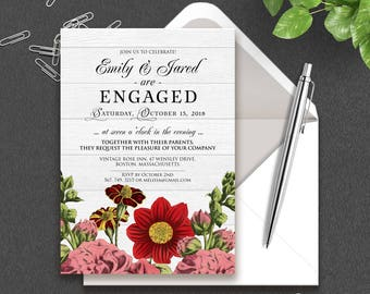 Flowers Engagement Invitation Garden Hollyhock French-Marygold Engagement Invitation Printable Engagement Dinner Invite Rustic Wood Invites