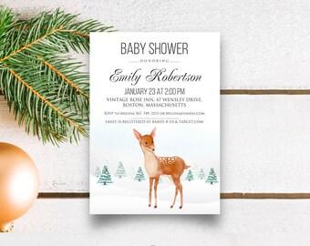 Deer Baby Shower Invitation Woodland Animal Baby Shower Invites Winter Baby Shower Printable Invitation Snowy Forest Invitation Editable PDF