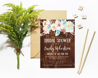 Floral Bridal Shower Invitation Template Rustic Wood Printable Invites Country Chic Wedding Shower Bridal Party Invitation DIY Bridal Shower