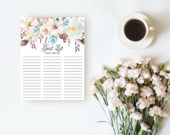 Guest List Printable Boho Floral Guest List in Sheet Wedding Guest List Shower Guest List Pink Flowers Feathers Guest List Sign In Download