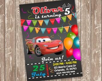 Cars Birthday Invitation, Mcqueen Party Invites, Lightning McQueen Birthday Invitation