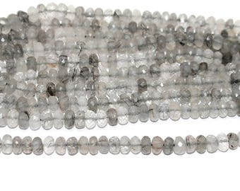 Beadsnfashion Jewelry Making Black Rutile faceted beads 8 mm